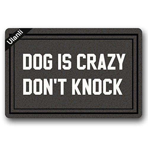 UlanLi Dog Is Crazy, Don't Knock Doormat Entrance Floor Mat Indoor/Outdoor Rubber Non Slip Doormat For Patio Front Door 23.6 x 15.7 Entrance Floor Mat