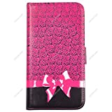 Voguecase® For BLU Studio 6.0 LTE Case,Slim Fit PU Leather Case Cover with Stand (Pink Bow / Leopard) & Card Slots with Free Universal Screen-stylus