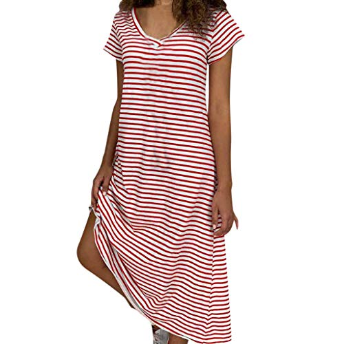 Sunhusing Women's Casual V-Neck Short Sleeve Striped Print Loose Beach Party Long Maxi Dress Red]()
