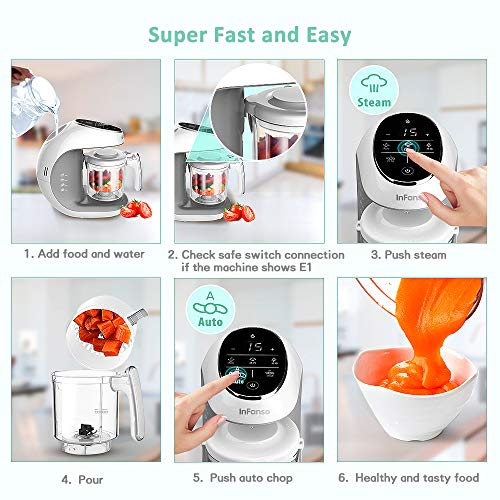 Infanso Baby Food Maker Food Processor BF300 for Infants and Toddlers 7 in 1 Organic Food Making Machine with Steam Cooker, Blender, Chopper, Defroster, Reheater, Disinfector and Auto Cleaning by InFanso (Image #4)