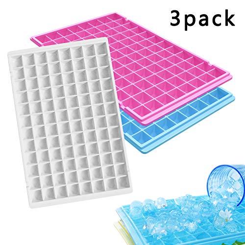 Fullsexy 3 Pack Easy Release Reusable Mini Ice Cube Trays - 96 Diamond Shape Molds
