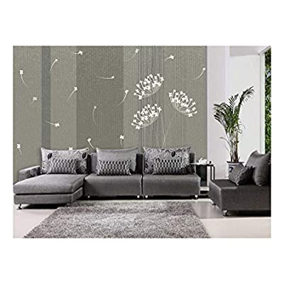 Classy Fun Silouhette of a White Dandelion on a Neutral Striped Textured Background - Wall Mural, Removable Sticker, Home Decor - 100x144 inches