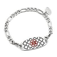 BAIYI Free Engraving - Stainless Steel Figaro Chain with Medical Alert ID Tag Bracelets for Women
