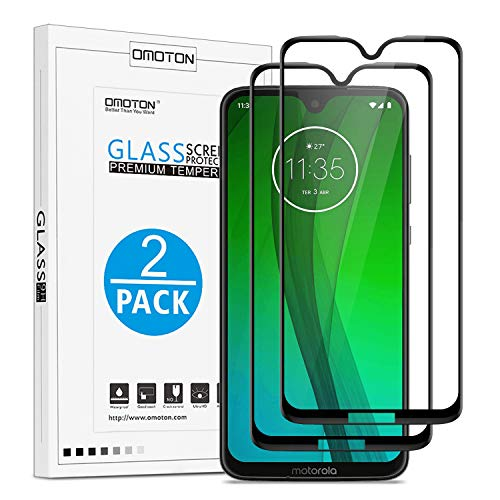Moto G7 Screen Protector, OMOTON 3D Curved Full Coverage Tempered Glass for Motorola Moto G7 / G7 Plus 6.2 Inch [2 Pack]