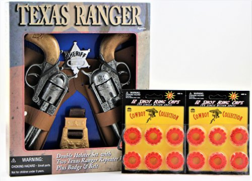Texas Ranger Double Holster Toy Gun with 2 Pack 12 Ring (Diecast Toy Cap)