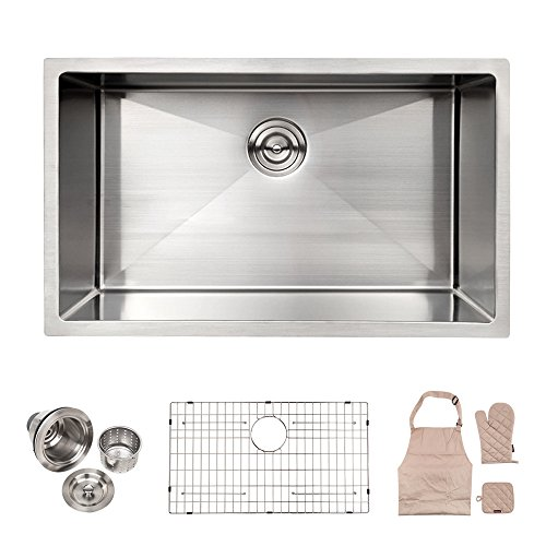 LORDEAR Commercial 32 Inch 16 Gauge 10 Inch Deep Brushed Nickel Drop In Single Undermount Single Bowl Stainless Steel Kitchen Sink