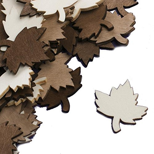 Cut Out Leaf - Factory Direct Craft Group of 72 Intricately Designed Neutrally Colored Maple Leaf Wood Shape Cutouts for Embellishing Crafts, Dressing Up Invitations, and Creating