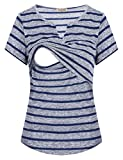 Larenba Short Sleeve Nursing Shirt, Women Casual Layered Stripe Maternity Tops Soft Postpartum Shirts Knitted Casual Wear Home Simple Comfortable Loose Breastfeeding Clothes(Blue,XX-Large)