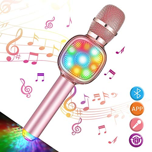 NASUM Wireless Bluetooth Karaoke Microphone 4-in-1 Portable Handheld Karaoke mic, Home Party Gift, Birthday Speaker Machine for iPhone/Android/iPad/iOS, Singing, Karaoke, Recording Rose Gold