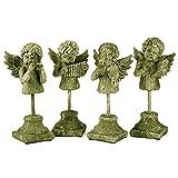 Angel Quartet , Set of 4 Moss Finish