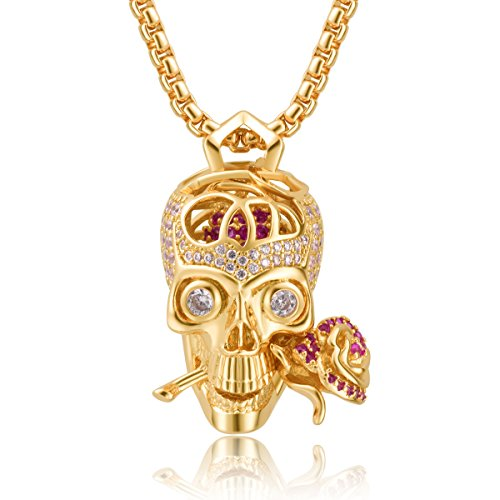 Karseer 18k Gold Plated Skull and Everlasting Rose Charm Pendant Necklace with Crystal Brain Hidden Floating Inside, 24