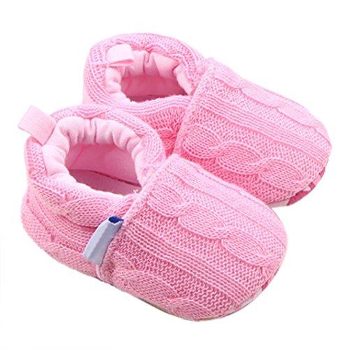 Newborn Crib Shoes,Kimanli Fashion Baby Sneaker Anti-slip Soft Sole Toddler Shoe (0~6 months, Pink)