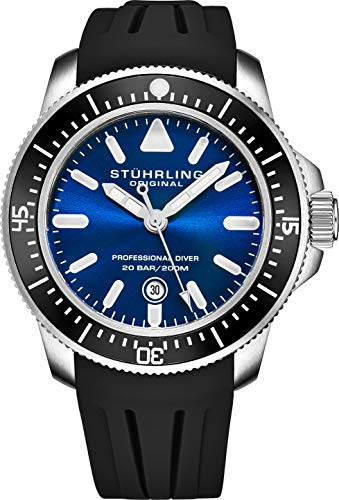 (Stuhrling Original Mens Dive Watches - Pro Sport Watch Diver with Screw Down Crown and Water Resistant to 200M. - Analog Dial, Quartz Movement - Maritimer Mens Watches Collection)