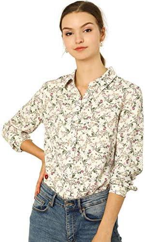Allegra Okay Women's Button Down Floral Shirt Blouse Long Sleeve Point Collar Top