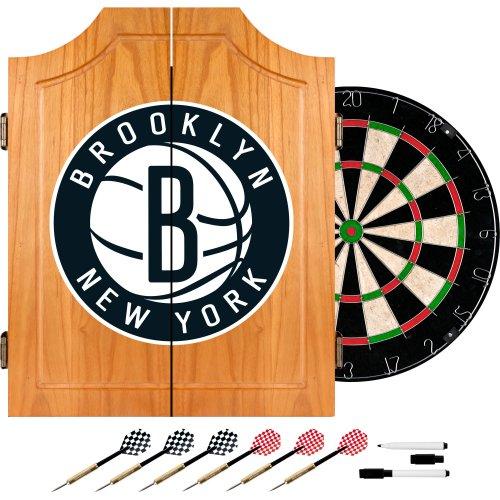 NBA Brooklyn Nets Wood Dart Cabinet Set by Trademark Gameroom