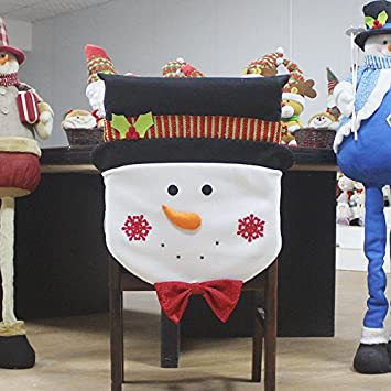 Astounding Amazon Com Qiki Christmas Chair Cover Santa Snowman Chair Andrewgaddart Wooden Chair Designs For Living Room Andrewgaddartcom