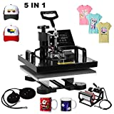 Superland 5 in 1 Multifunction Sublimation Heat Press Machine T shirts Hat Mug Cap Digital Swing Away Heat Transfer Press Machine 15 X 15 Inch (5 in 1: 15''x15'')