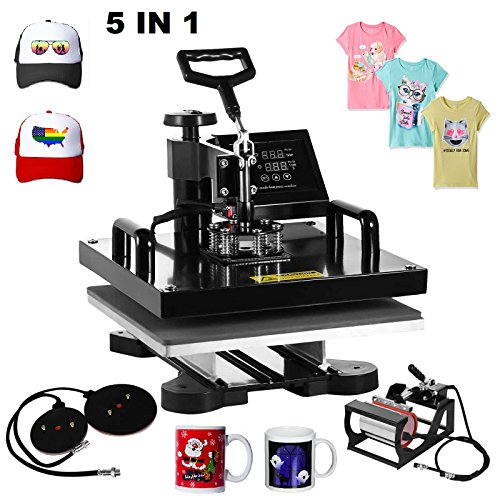 Superland 5 in 1 Multifunction Sublimation Heat Press Machine T shirts Hat Mug Cap Digital Swing Away Heat Transfer Press Machine 15 X 15 Inch (5 in 1: 15''x15'') by Superland