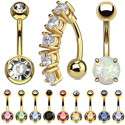 BodyJ4You 12PC Belly Button Ring Set CZ Created-Opal Goldtone 14G Steel Banana Navel Bar Piercing
