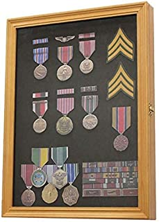 product image for flag connections Oak Finish Display Case Wall Frame Cabinet for Military Medals, Pins, Patches, Insignia, Ribbons, Brooches.