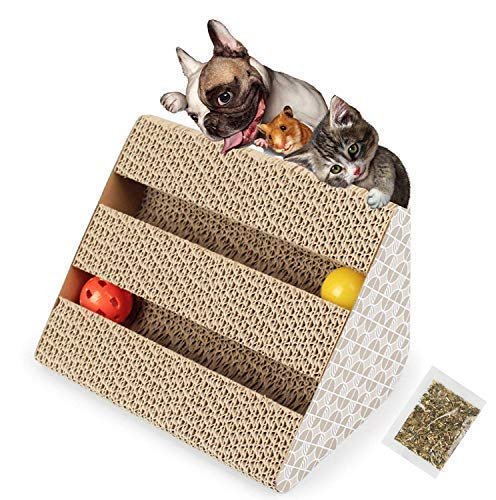 (meleg otthon Cat Scratcher,Scratching Post Cardboard Scratch Broad for Cat with 2 Ball Place Kitten Loved Place to Protect Furniture Help Cat Relax Lose Weight)