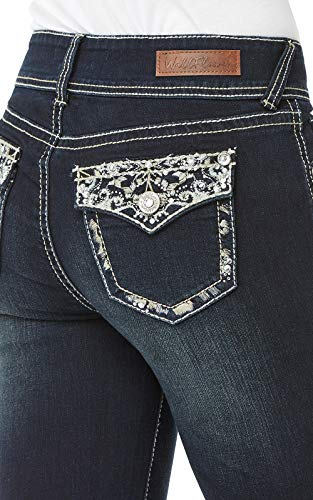 WallFlower Women's Juniors Luscious Curvy Embellished Bootcut Jeans in Panther, 15 by WallFlower