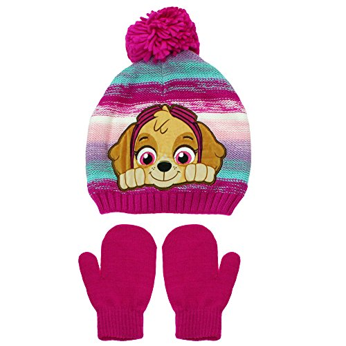 ol Skye Pom Pom Winter Hat and Mittens Toddler 2T-4T Pink Rainbow ()