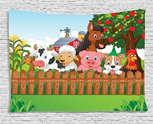 - Ambesonne Cartoon Tapestry, Composition Farm Animals on Fence Comic Mascots with Dog Cow Horse Kids Design, Wide Wall Hanging for Bedroom Living Room Dorm, 80
