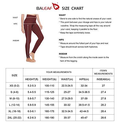 BALEAF Women's Yoga Leggings High Waisted Tummy Control Pants Non See-Through Fabric Black Size L