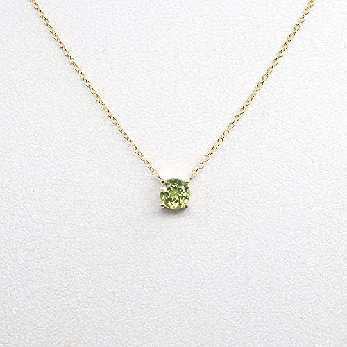 Peridot Solitaire Necklace for Women, 0.5CT Natural AAA Peridot Necklace, Dainty Necklace in Rose gold, White gold, and Yellow gold