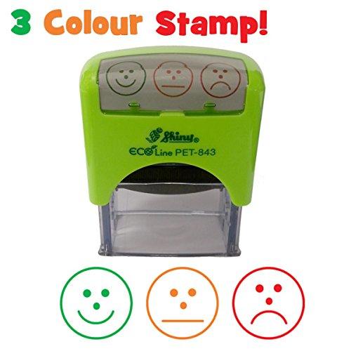 Timbro auto‑inchiostrante per insegnanti, tricolore, con 3 espressioni/valutazioni (felice/normale/triste) Fabbricato in plastica riciclata Shiny