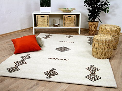 Natur Teppich Berber Aruna Wollweiss Medaillon in 7 Größen