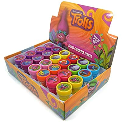 24 Trolls Dreamworks Authentic Licensed Stampers Party Favors in a Box.: Toys & Games