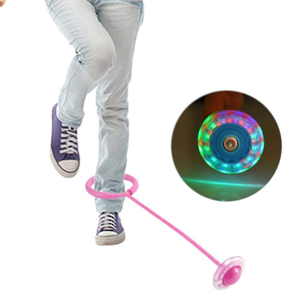 BOLLAER Children Flashing Jumping Ring Colorful Ankle Skip Jump Ropes Sports Swing Ball Led Light Twist on Jumping Flashing Skip Ball