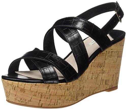 Femme b Wedge t Plateau Sandales croco 4 Cortefiel Noir black 0EPgqg