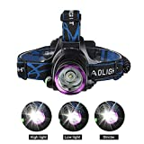 GRDE® 2200 Lumens Waterproof Head Torch, Powerful LED Headlight, Rechargeable Headlamp for Cycling Running Hiking Camping Hunting Fishing Bild 3