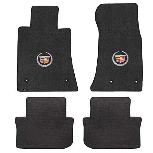 Fits 2013-2016 Cadillac ATS Black Velourtex Front and Rear Floor Mats Crest Wreath Logo