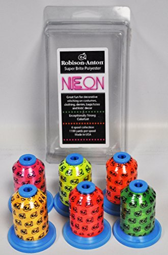 (Robison Anton Super Bright Polyester Thread Neon Gift Pack 6ct)