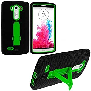 Accessory Planet(TM) Black / Neon Green Heavy Duty Hybrid Hard/Soft Silicone Case Cover with Stand Accessory for LG G3