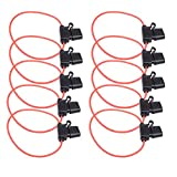 Qunqi 10Packs Add-A-Circuit Blade Type Inline Fuse holder 16 Gauge with cover + 20 pcs Fuse