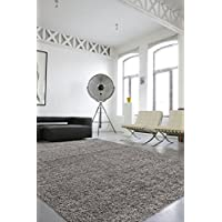Sweet Home Stores Cozy Shag Collection Solid Contemporary Living & Bedroom Soft Shaggy Area Rug, 84' L x 60' W, Grey