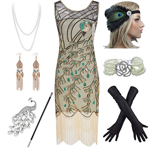 1920s Vintage Peacock Sequin Fringed Party Flapper Dress w 20s Accessories Set (M, Gold)