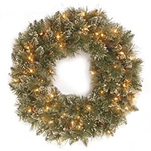 National Tree 24 Inch Glittery Bristle Pine Wreath with 50 Clear Lights (GB3-300-24W-1) 92