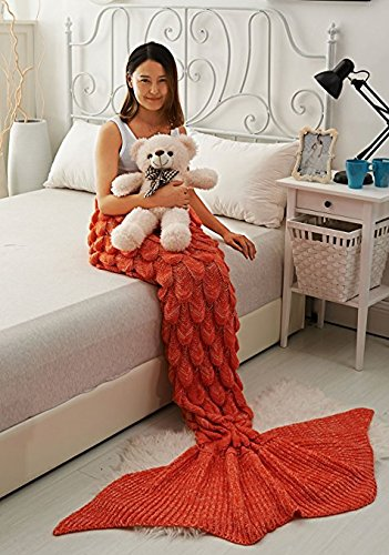 Handmade Mermaid tail Blanket Warm Throw Blanket Scales Pattern Acrylic Fibres Fashion Princess Quilt for Adult, Teen (2.6 Inch x 6 Inch, Light Orange)-Prosshop