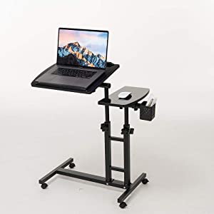 Farios Adjustable Laptop Desk with Wheels, Adjustable Desk for Bed, Adjustable Laptop cart, Over Bed Table, Bed Side Table, Tiltable Table and Laptop Stand-Black