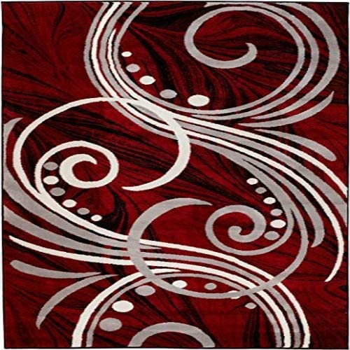 New Summit Elite S49 Burgundy Black Grey Color Transitional Swirl Area Rug Modern Abstract Rug Many Sizes Available 8X11 ACTAUL SIZE IS 7 .4 X10 .6
