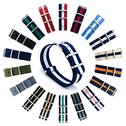 - CIVO Watch Bands NATO Premium Ballistic Nylon Watch Strap Stainless Steel Buckle (20mm, Navy/Ivory)