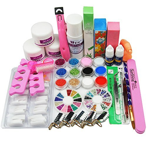 Birthday Gift!!! 24 in 1 Combo Set Professional DIY Nail Art Decorations Kit Brush Buffer Acrylic Glitter Powder Cuticle Revitalizer Oil Pen Tool Nail Tips Rhinestones Pearls Reusable Form Glue Acrylic Set #27 by RY