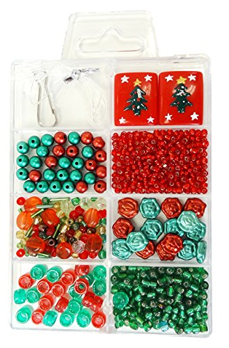 Linpeng BB-08 4 to 23mm Green Seed Beads Bugles Flower Christmas Tree Square Flat Rectangle Beads.20mm Lanyard Hook.36 Gel Cord for DIY Craft Bracelet Necklace Key Chain Making in Divider Box, Red