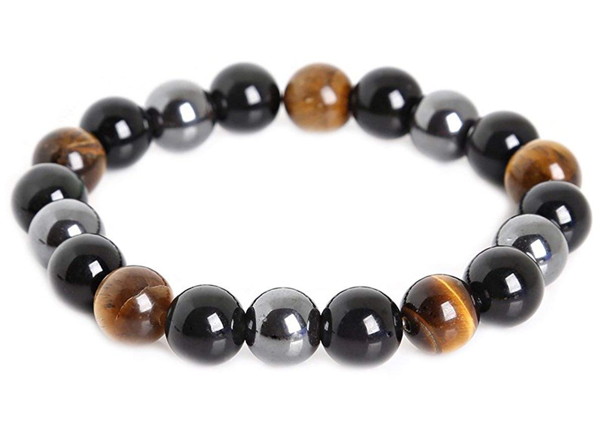 SX Commerce Triple Protection Bracelet for Protection Bring Luck and Prosperity Hematite Black Obsidian Tiger Eye Stone Bracelets (10MM) by SX Commerce